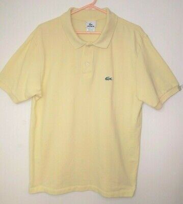Lacoste Mens Solid Yellow Short Sleeve Polo Shirt Golf Size 7 or XL