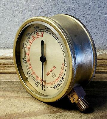 Large 4 Vintage Brass Us Gauge Pressure Gauge Dated July 1917 Antique Steampunk