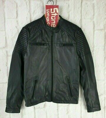 Mens Superdry Black Quilt Racer Bomber Leather Racer Biker Jacket Small £239 New
