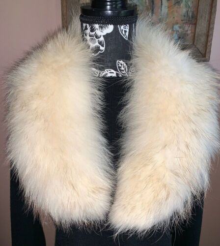 Vintage Genuine Arctic Fox Fur Collar Creamy Off White with Golden Brown Tips