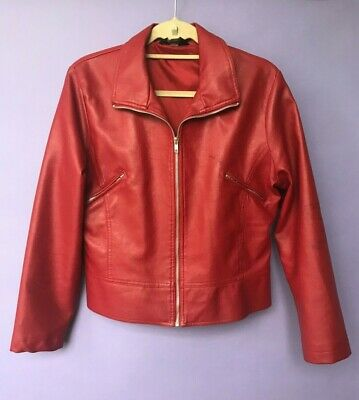 VINTAGE Red Leather Motorbike Bomber Perfecto Jacket Women Oversized 90s M