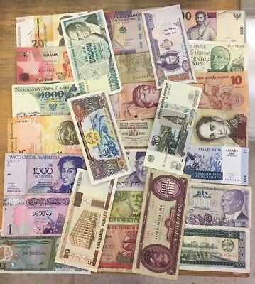 ONE POUND SELECT MIX OF CIRCULATED WORLD BANKNOTES, ABOUT 490-510 NOTES, NO RAGS