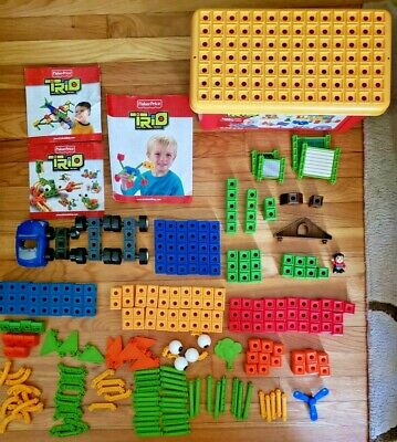 Fisher Price TRIO Building Block Set 193 Pieces Plus Bin and Instructions