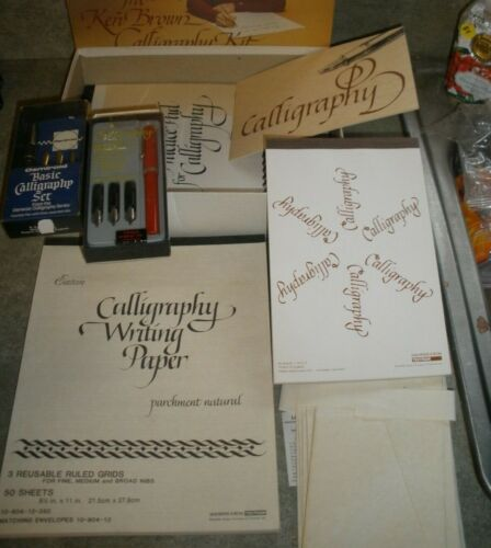 Lot of Calligraphy Items Sheaffer Pen Set, Osmiroid Set, Paper, Envelopes, Etc