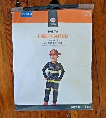 Toddler Firefighter Halloween Costumes (Firefighter Halloween Costume Dress Up Jumpsuit Hat Toddler size 18-24)
