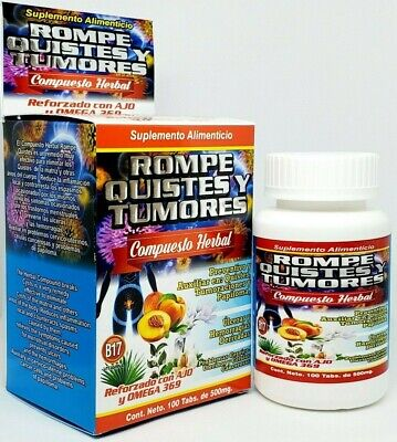 Rompe Quistes y Tumores Ajo Omega 3, 6, 9 Cysts B17 100% Natural Cancerina Tabs 4