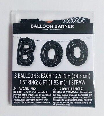 Halloween Boo Balloon Banner Kit Black 13.5