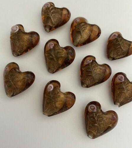 10 BROWN PINK FLOWER LAMP WORK GLASS HEART BEADS  20mm - DIY JEWELRY MAKING