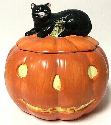 Sakura David Carter Brown Ceramic Pumpkin Hollow Cookie Jar With Black Cat Lid