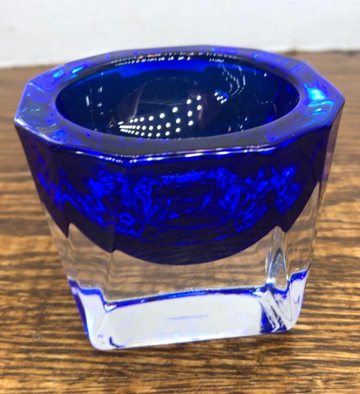 J.G. Durand Crystal Double Cased Cobalt Clear Votive Salt Cellar Signed Blue