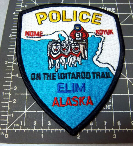 Alaska Embroidered Patch, Elim, Iditarod Trail Police Souvenir Shoulder Patch