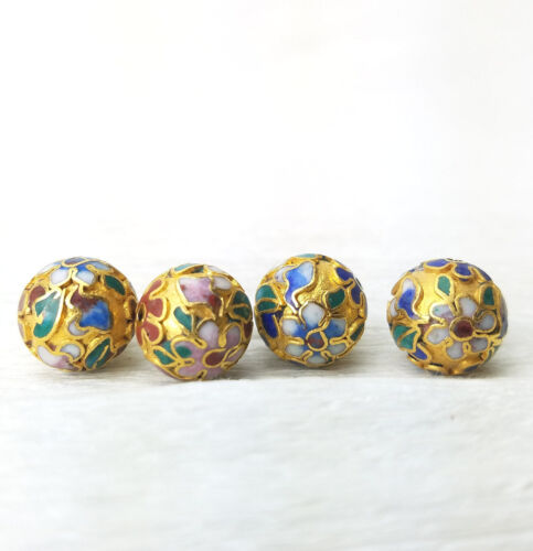 2 VTG Unusual Champleve Gold Pink Blue Flower Cloisonne Chinese 12mm Beads