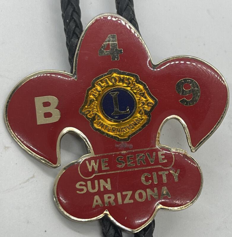 Vintage Lions International Bolo Tie, Lions Club International Sun City Arizona