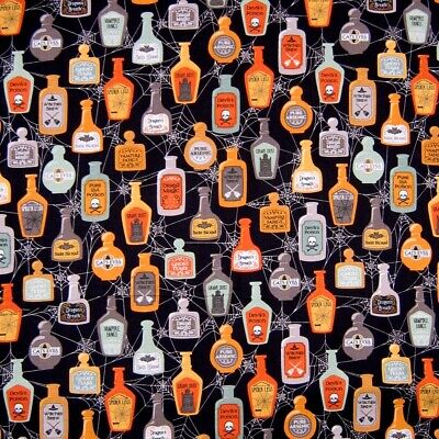 Quilting Treasures Halloween Fabric (Halloween Fabric - Boos Ghouls Potion Jars Black - QT Quilting Treasures)