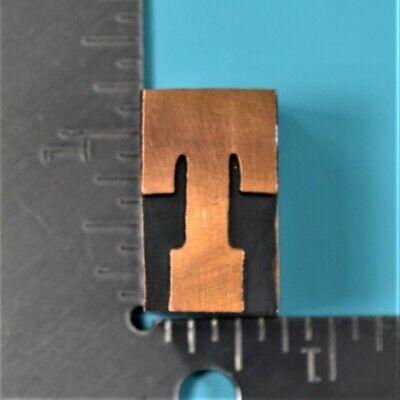 Vintage Letter T Copper Wood Black Letterpress Printing Block