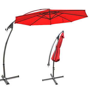 3M CANTILEVER PATIO UMBRELLA GARDEN OUTDOOR BEACH SUNSHADE HANG MARKET SHELTER