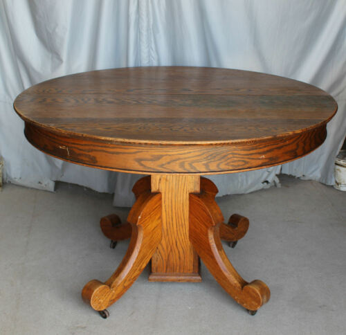 Antique Round Oak Table – original finish – 45″ diameter - with Leaves