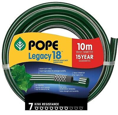 Pope LEGACY-18 UNFITTED GARDEN HOSE 18mmx10m Heavy Duty, Super Tough Exterior