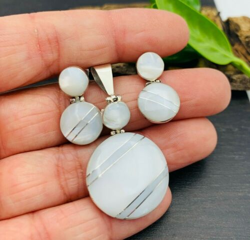 TAXCO Earrings & Pendant set 950 Sterling Silver White Mother of Pearl