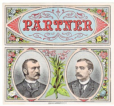 Cigar Box Label Vintage Outer Chromolithography C1890 Partner Elaborate American
