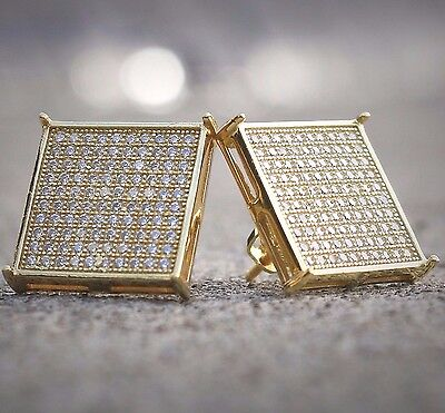 Mens 14k White Gold Finish Real Silver Square Lab Diamond Earrings Studs