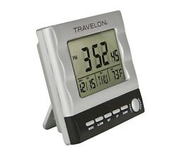 TRAVELON LARGE DISPLAY BACK-LIT TRAVEL ALARM CLOCK WITH 6 MINUTE SNOOZE & TEMP