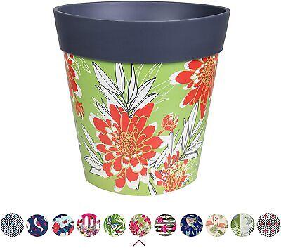 Hum Flowerpots, grey large scale floral plant pot, outdoor/indoor planter 22c...