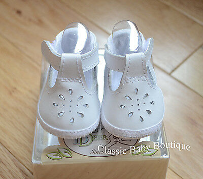 NWT Baby Deer White Genuine Leather T-Strap Booties Crib Shoes Girls 1-3M Sz -