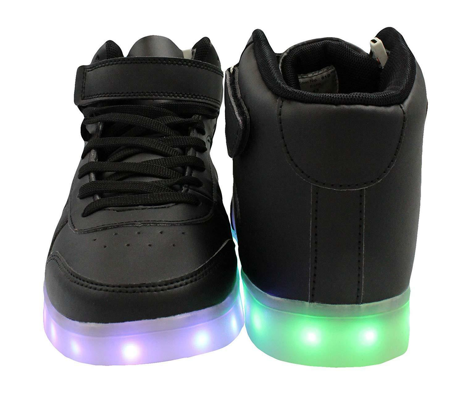 Transformania Toys Galaxy Kid`s LED Shoes Light Up USB Charging High Top Lace & Strap Sneakers