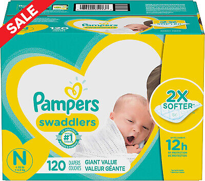 Diapers Newborn/Size 0 (< 10 lb), 120 Count - Pampers Swaddlers Disposable Baby