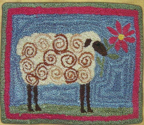 """Hooked on Rugs """"Lamb with Flower"""" Punchneedle Embroidery Pattern w/Fabric"""