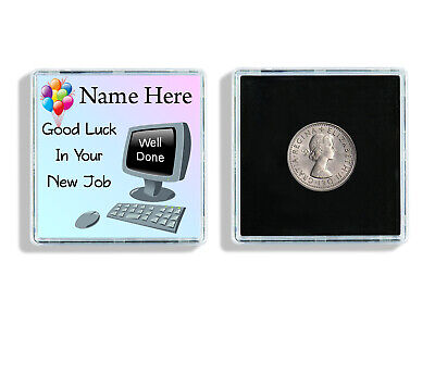 Personalised Good Luck In Your New Job Lucky Sixpence Keepsake In Case Gift