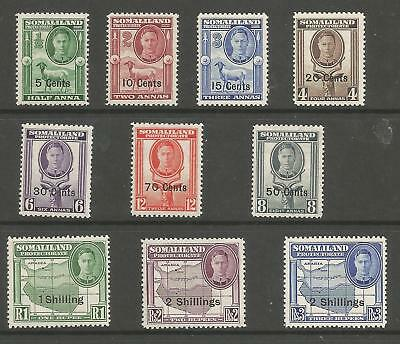 SOMALILAND PROTECTORATE SG125-34  1951 GVI  0/PRINT SET TO 2/- ON 3rs MNH C.£38+
