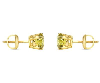 1 Ct Round Cut Canary Earrings Studs Solid 14K Yellow Gold Screw Back Basket