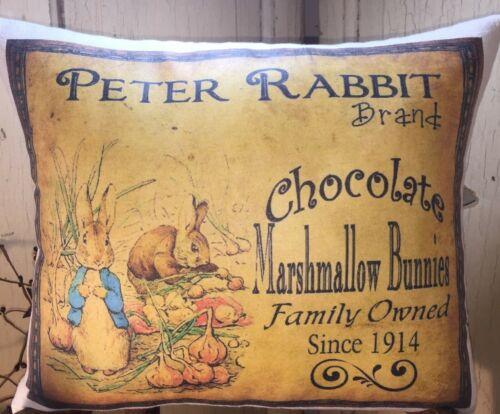 PRIMITIVE VINTAGE STYLE EASTER PETER RABBIT CHOCOLATE MARSHMALLOW BUNNIES PILLOW