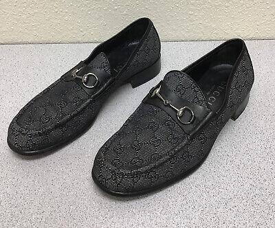 Gucci Men's Authentic 90s GG Logo Vintage Black Horsebit Loafers - 12D US
