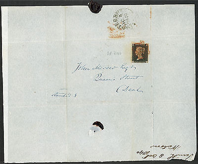 Cover - GB Sc#1 Penny Black on Cover - 1840 Canterbury   S1837