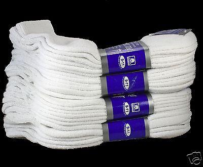 New 12 Pairs Dozen All White Diabetic Ankle Quarter Crew Socks Mens Size 13-15