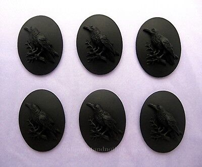 6 BLACK BIRD GOTH CROW RAVEN on BLACK 25mm x 18mm Costume Jewelry CAMEOS EMO