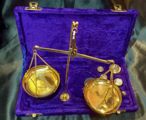 New Solid Brass Weighing Scale with  Blue Velvet Box