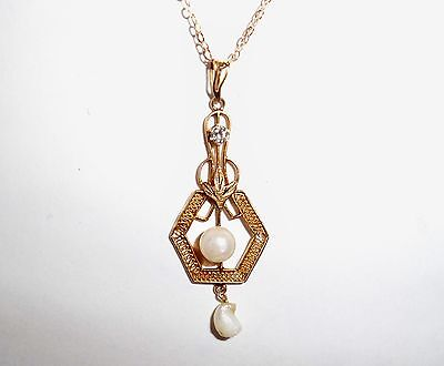 ANTIQUE VICTORIAN SOLID 10K GOLD LAVALIER DIAMOND & PEARL PENDANT JEWELRY