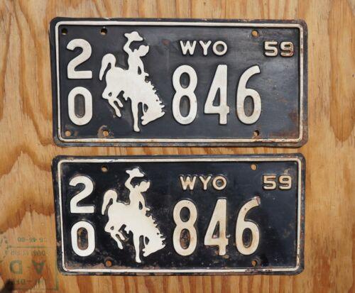 1959 Wyoming License Plate PAIR / SET