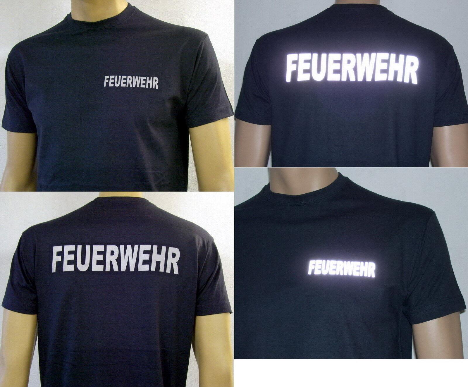 FEUERWEHR T-Shirt in marineblau / FW-gerade silberreflex, Herren-Größe S bis 4XL