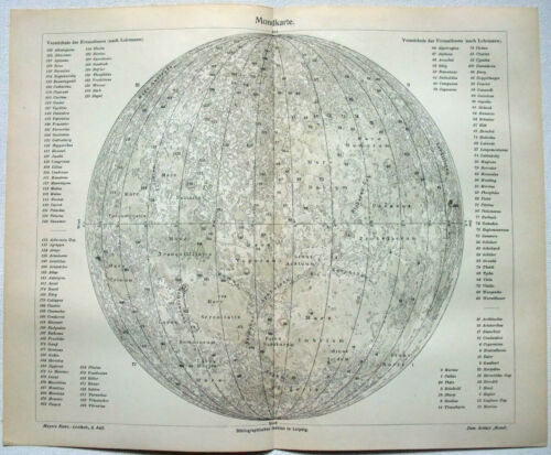 Moon - Original 1905 Chart by Meyers. Lunar Celestial Astronomy Map