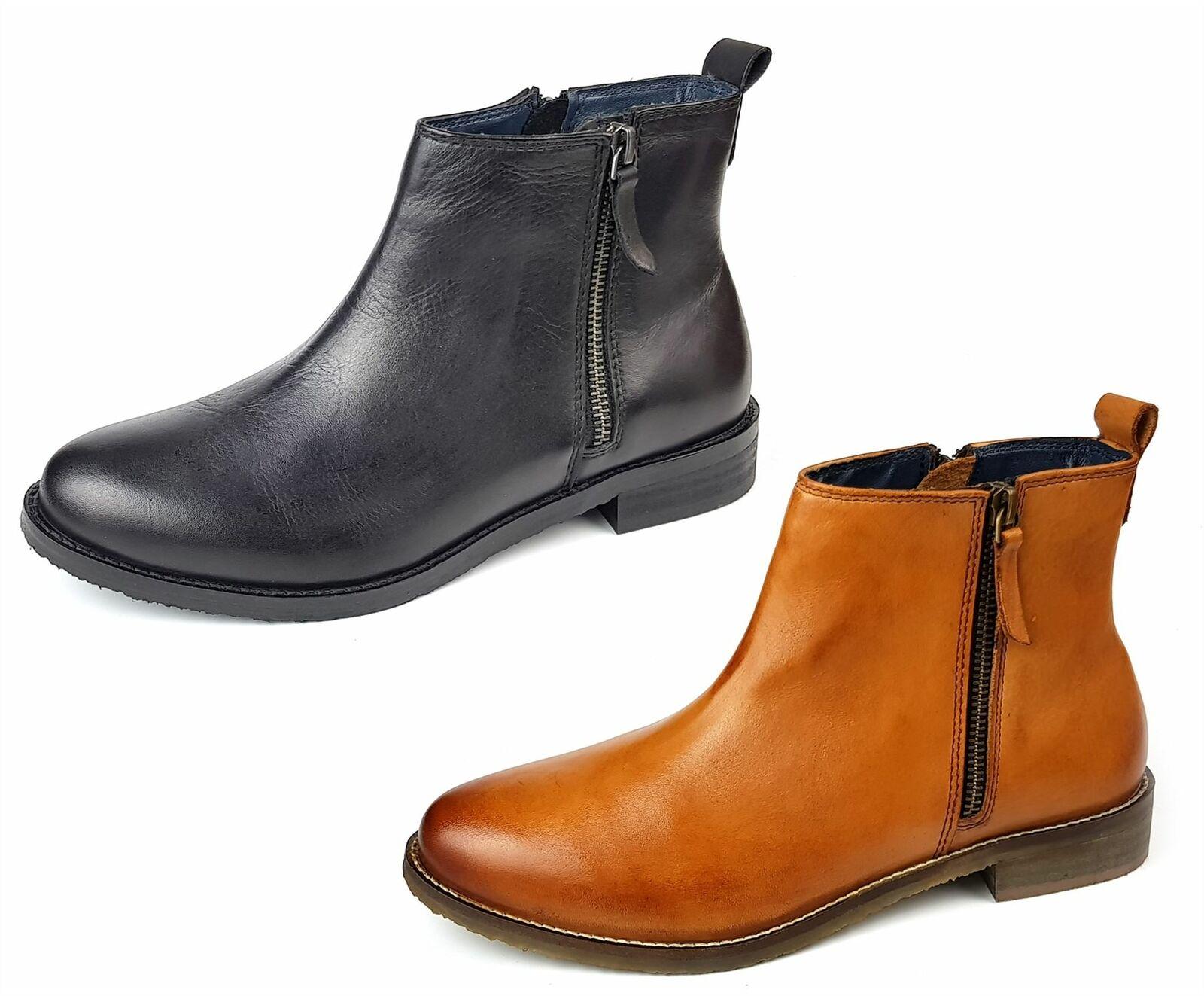 Frank James Newbury Ladies Womans Tan Black Leather Chelsea Zip Up Boots