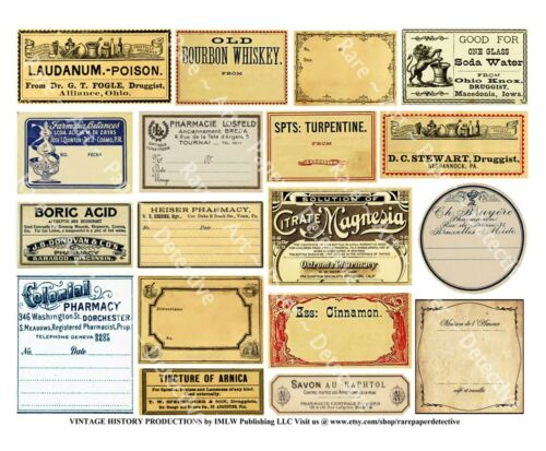 18 APOTHECARY LABELS, Sticker Sheet, Druggist Labels & Drug Store Pharmacy Decor