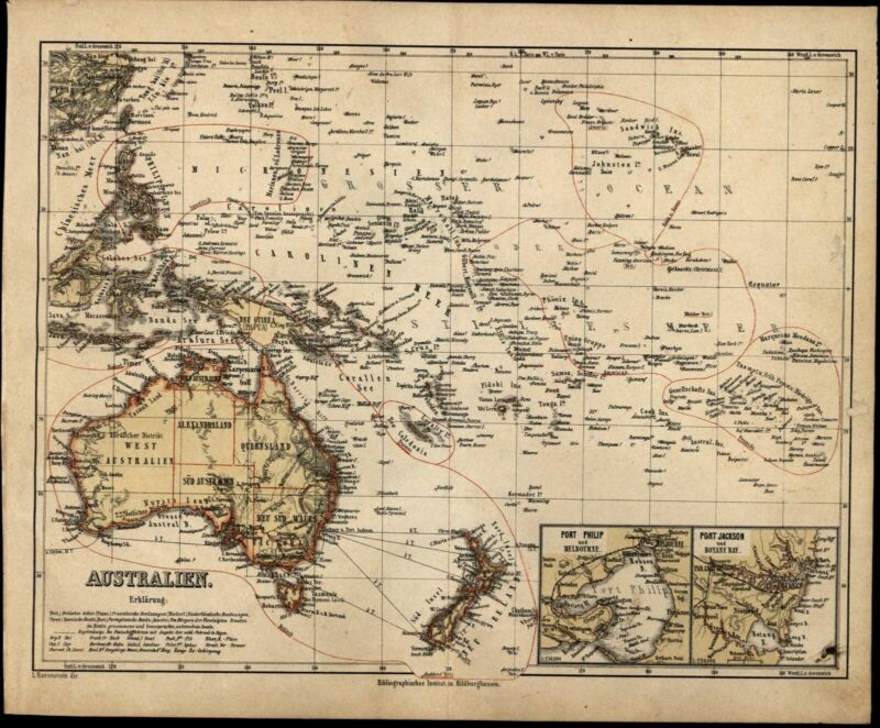 Oceania Australia New Zealand Jackson Port insets c.1867 Ravenstein detailed map
