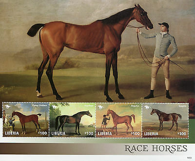 Liberia 2014 MNH Race Horses 4v M/S II Horse Racing Art Paintings Stamps