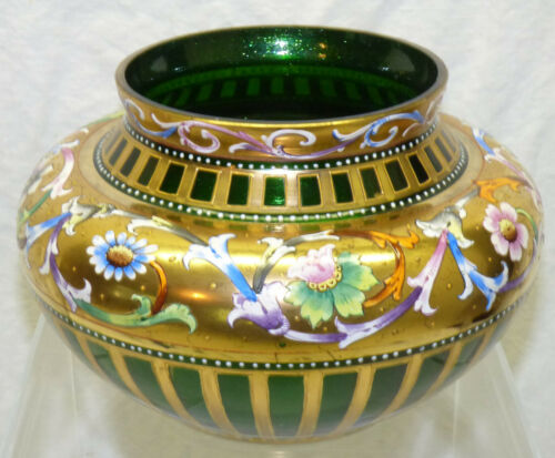 Antique Venetian Bohemian Art Glass Vase Enamel Painted Floral Gold Mica Flecks