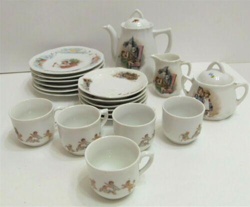 Vintage German Porcelain Child's 22 Piece Tea Set Victorian Era